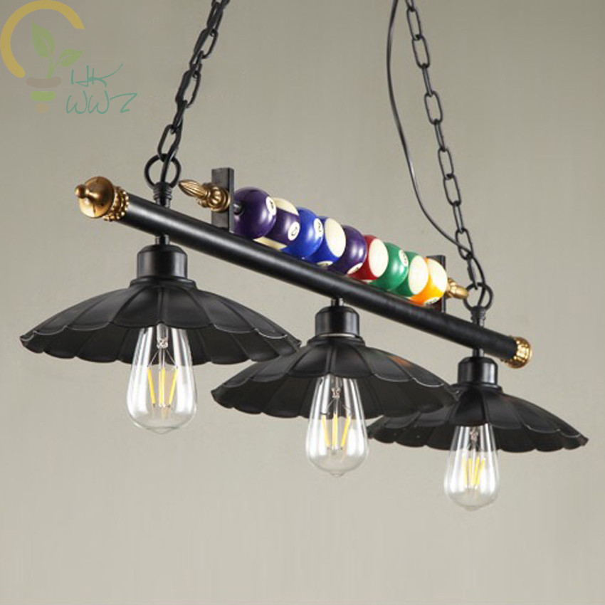 Image 3 - Creative Pool Table Pendant Lamp Nordic Decorate Lights Retro Industrial E27 Pendant Lights Restaurant Bar Cafe Hanging Lamp-in Pendant Lights from Lights & Lighting