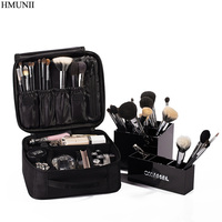 HMUNII Brand Women Cosmetic Bag High Quality Travel Cosmetic Organizer Zipper Portable Makeup Bag Designers Trunk