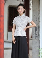 High Quality Lace White Chinese Traditionary Style Mandarin Collar Women S Girl Casual Shirt Blouse Tops