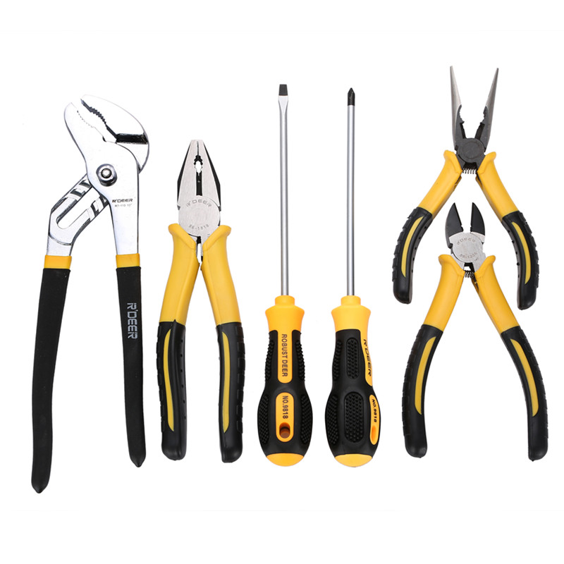 7pcs Pliers Set Combination Multi Tool for home repair include screwdriver and Pipe Plier with case 14pcs the key with combination ratchet wrench auto repair set of hand tool kit spanners a set of keys herramientas de mano