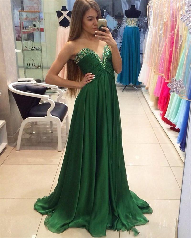 Simple pas cher robes de bal longue perlée v-cou en mousseline de soie robe de soirée vert femmes fête