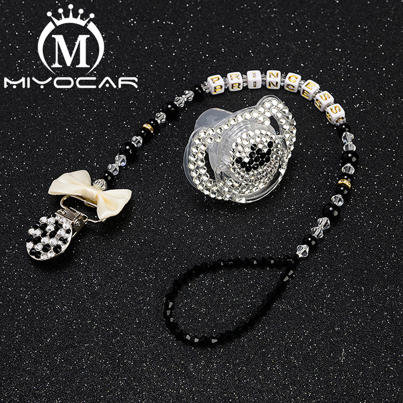 MIYOCAR bling unique pacifier clip any name custom holder  with black white SP008