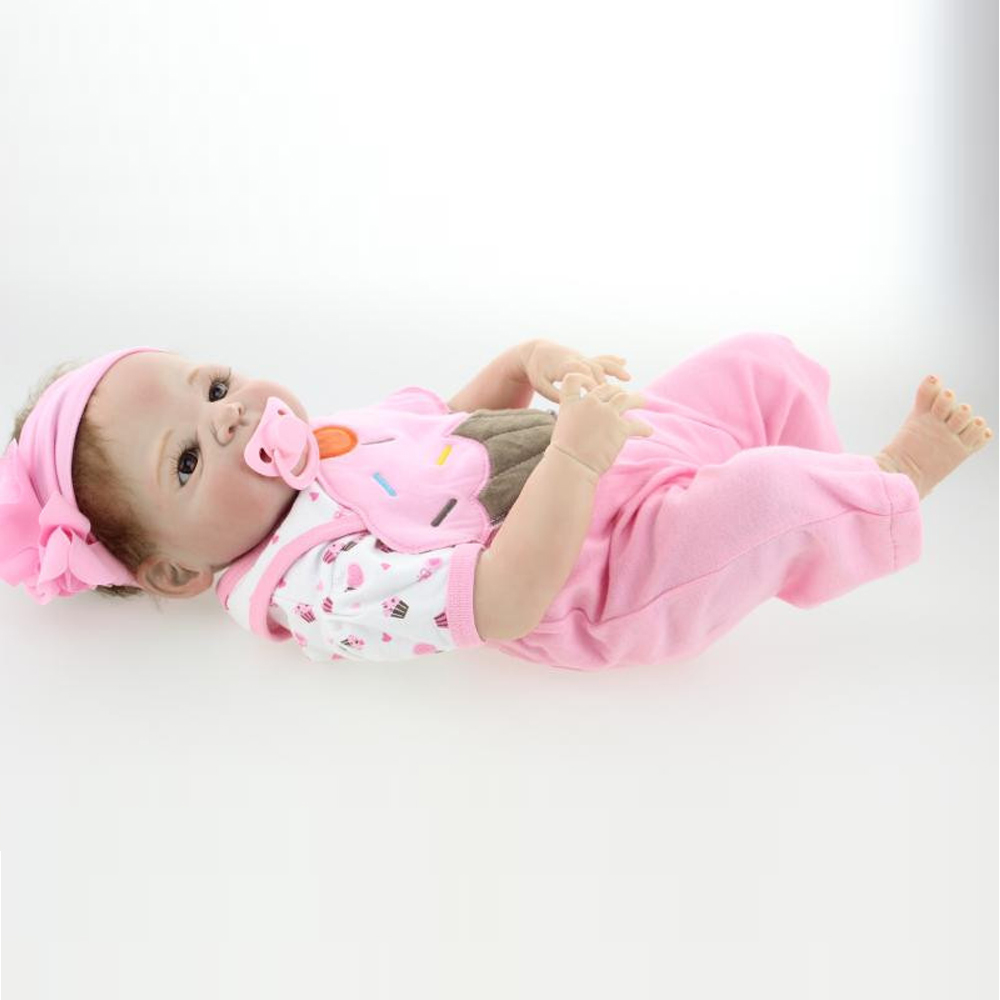 NPKCOLLECTION New 57cm soft silicone reborn baby dolls lifelike girl doll brinquedos lovely accompany sleep baby doll for childNPKCOLLECTION New 57cm soft silicone reborn baby dolls lifelike girl doll brinquedos lovely accompany sleep baby doll for child