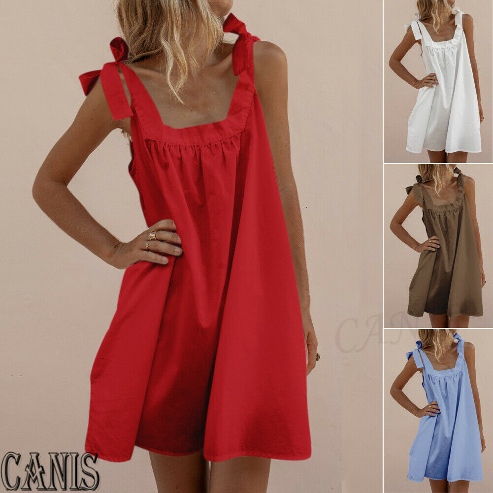 Hirigin Brand Elegant Dress A line Sexy Women Sleeveless Boho Party Casual Cotton Linen Kaftan Mini A-Line Female Clothing