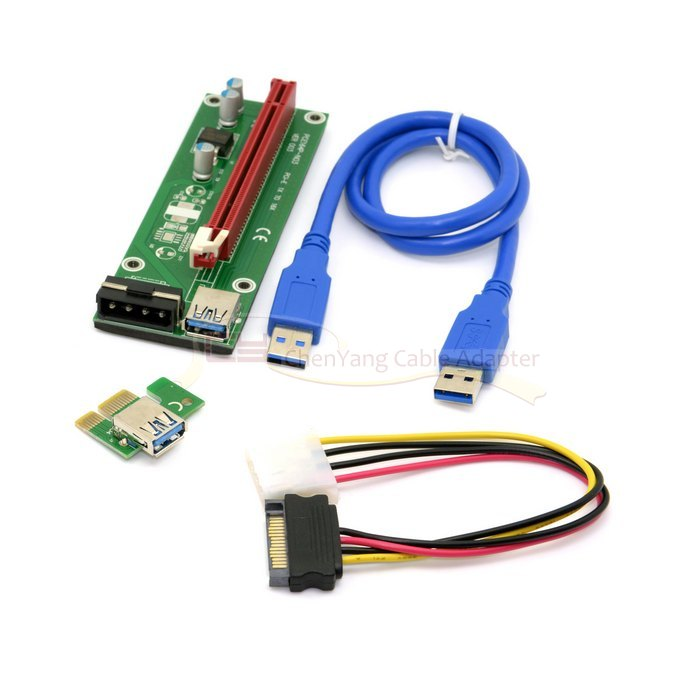 1 Set PCI-E 1x to 16x Mining Machine Enhanced Extender Riser Adapter with USB 3.0 & SATA Power Cable