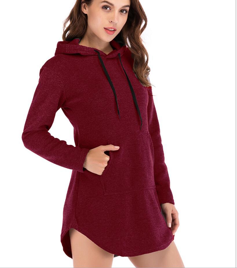 Sudadera con capucha de lana de bolsillo largo de gran venta para mujer