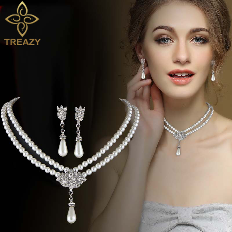 TREAZY Elegant Simulated pearl Bridal Jewelry Sets Rhinestone Pearl Drop NECKLACE+EARRINGS Wedding Jewelry Sets for Women Gifts