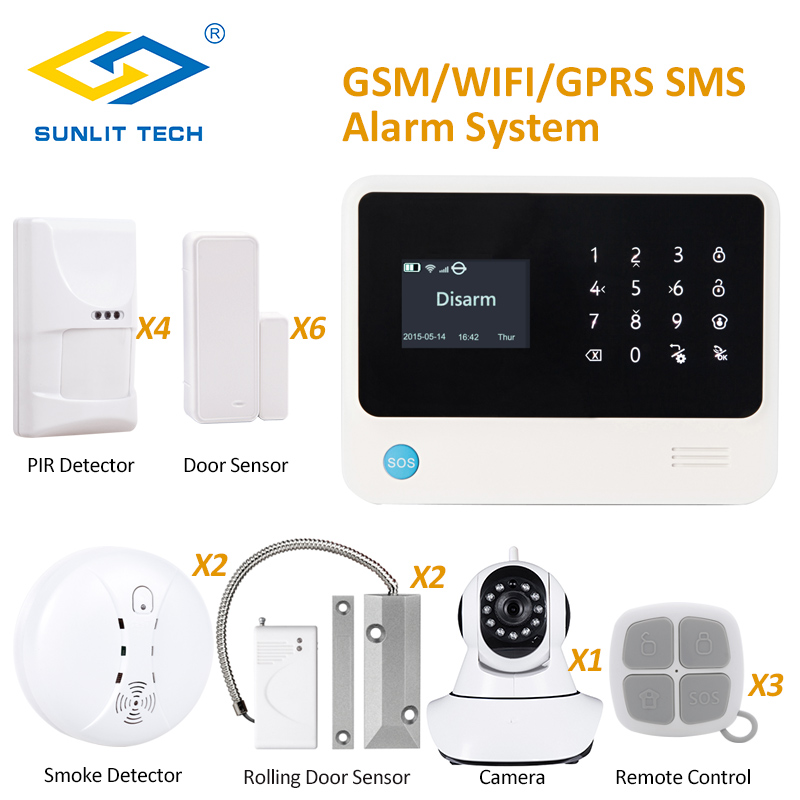 Wired and Wireless GSM Home Anti-thief Alarm System with Smoke Fire Detector and WIFI IP Camera 720P APP Remote View escam qf550 super egg wifi 1 0mp alarm ip camera anti fire anti gas 720p