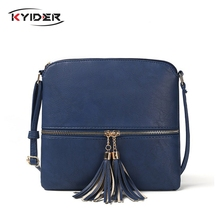 KYIDER Fashion Tassel Women Bag PU Leather Flap Shoulder Messenger Bag Luxury Handbag Designer Crossbody Bags for Women bolsa недорого