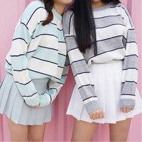 2017 Nova Coreano Mulheres Casuais Camisola de Malha Moda Outono O-pescoço Cor Bloco Listrado Pullovers Jumpers Feminino Blusas Soltas