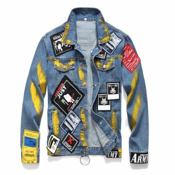 Mcikkny Men's Hip Hop Denim Jackets Fashion Patches Designer Jeans Jackets Spring Autumn Male Outwear Coats Blue