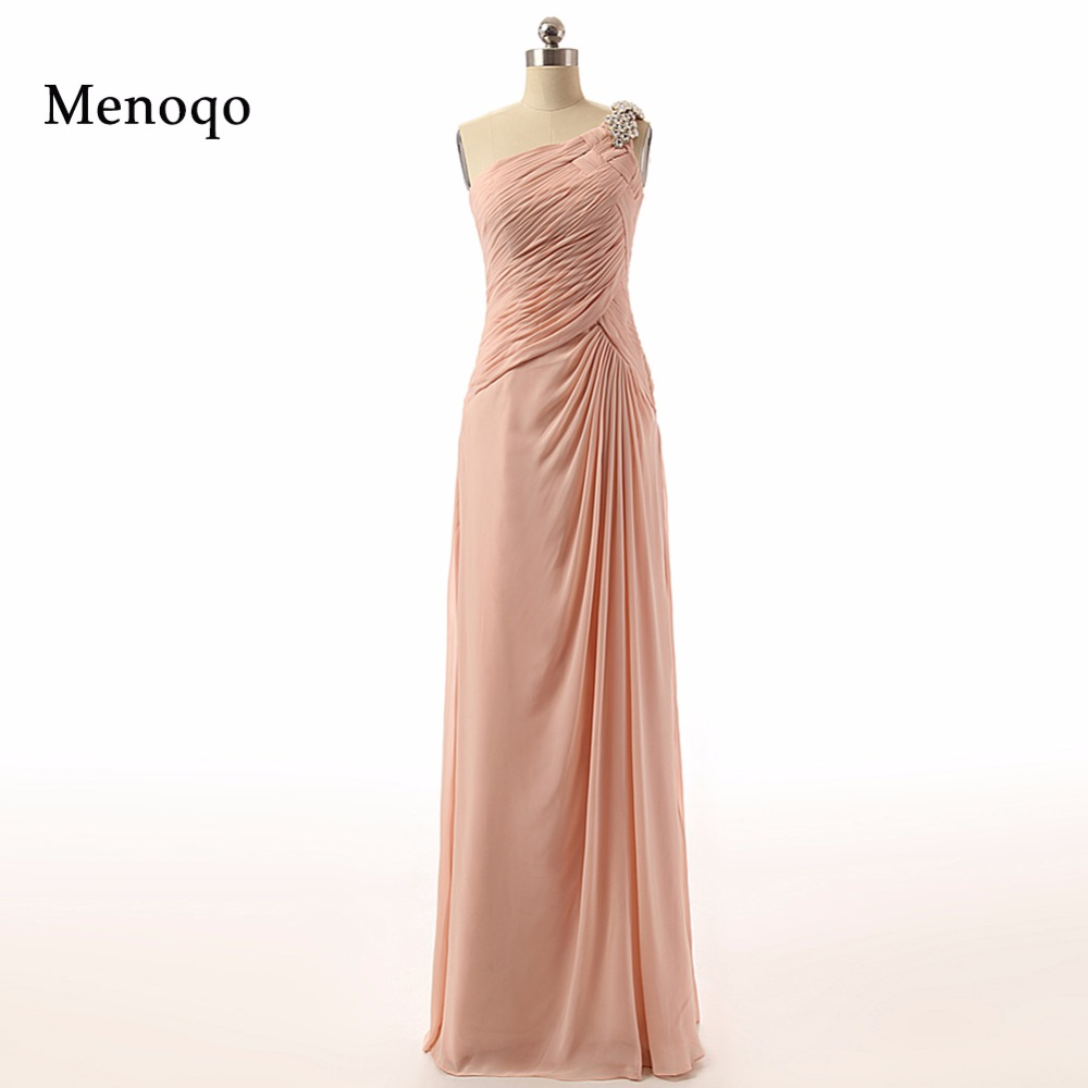 62738W 2019 charming style a line one shoulder beaded chiffon floor length long mother of the bride real photo dress