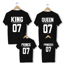 Family Matching Outfits clothes daddys girl Mother Daughter Clothes Son Cotton Casual Family Look Father Son King Queen T-shirt(China)