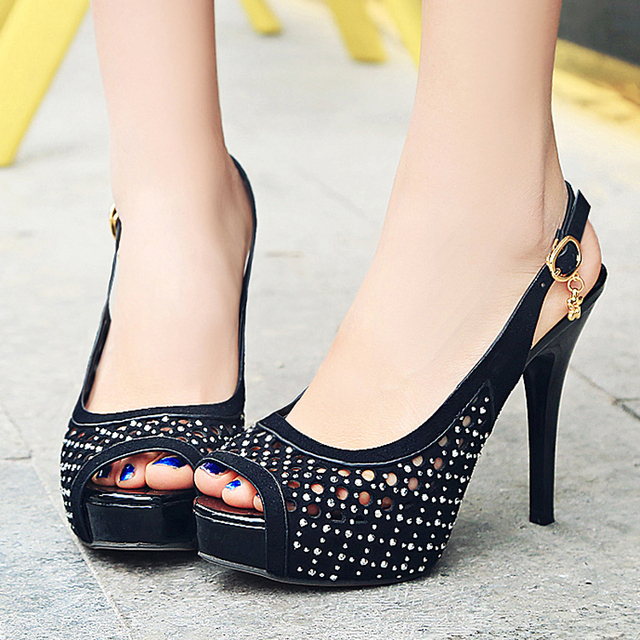 New Arrival Sexy Peep Toe Rivet Breathable Cut Out Women Sandals Super High Stiletto Platform Women Shoes Fashion Party Footwear