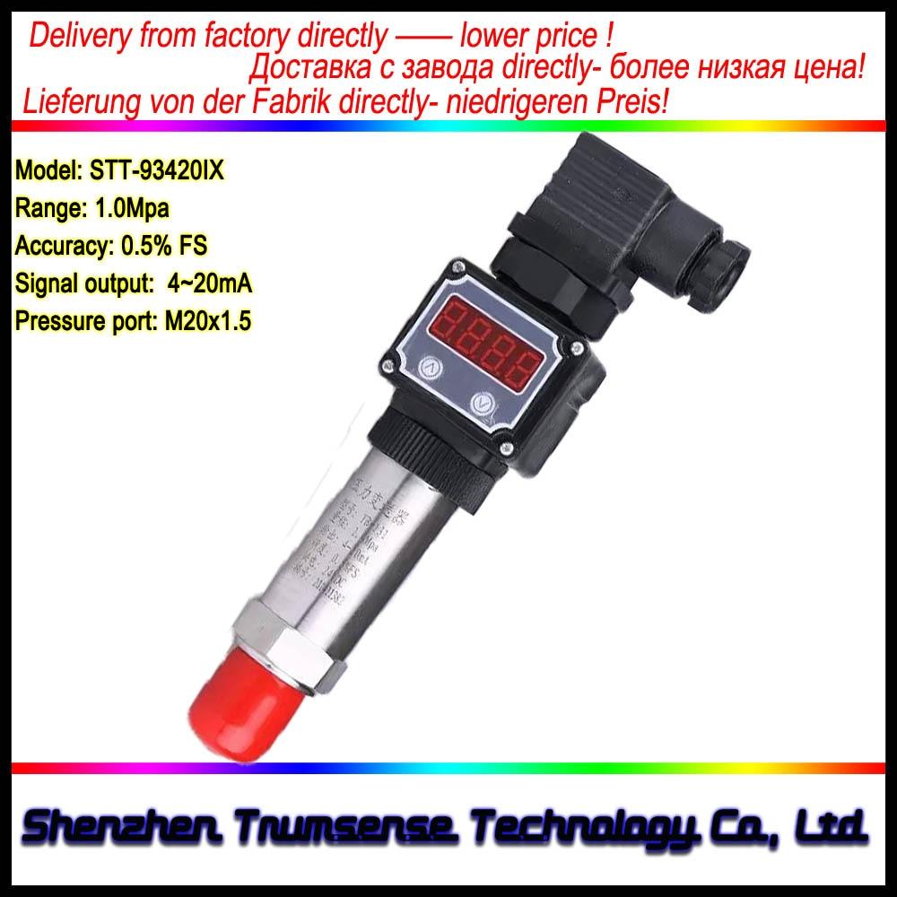 LED Diffused Silicon Digital Display Pressure Transducer 4~20mA DC24V M20x1.5 1.0Mpa 0.5% Accuracy