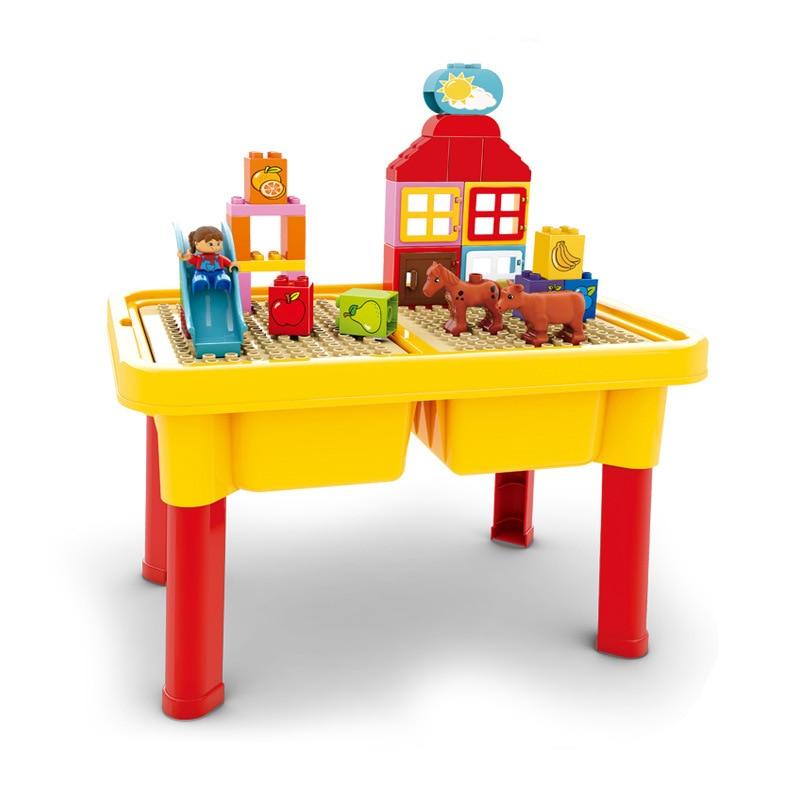 HG1449B grandes particules blocs de construction table avec briques Compatible avec Legoe Duploo jouets jouets pour enfantsHG1449B grandes particules blocs de construction table avec briques Compatible avec Legoe Duploo jouets jouets pour enfants