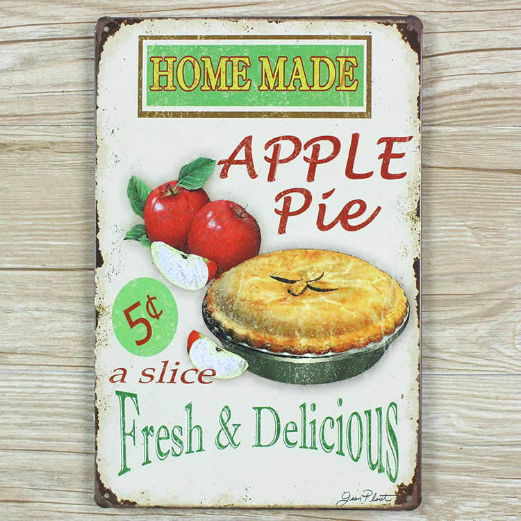 2015 Metal signs Vintage plaques Tin art wall sticker Apple pie Retro decor home bar wall 20X30CM Free shipping GY-00332hot sale