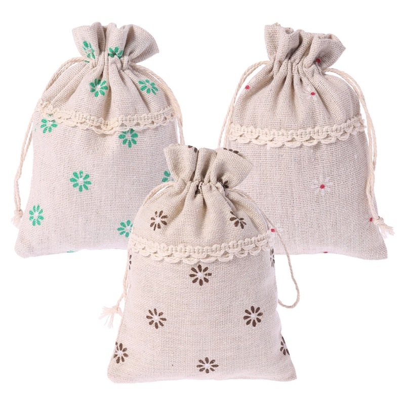 Christmas Cotton Linen Sack Drawstring Jewelry Bag Candy Pouch Favor Gift Holder Drawstring Bag For Women Girl candy cane patterned drawstring gift bag storage backpack