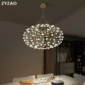 Post moderne plaque cuivre or pendentif LED lumières forme ovale Designer nid d'oiseau lampe lampes de luxe suspension lampe lampara