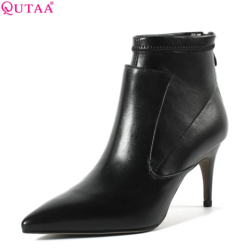 QUTAA 2019 Women Ankle Boots Casual Thin High Heel Genuine Leather +pu Pointed Toe Winter Shoes Platform Women Shoes Size 34-43 цены