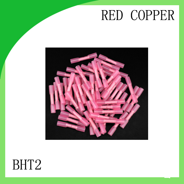red copper 500 PCS BHT2 cold-pressure terminal   Insulated Heat Shrink Butt Wire Electrical Crimp Terminal Connector diy insulated female wire connecting terminal red 20 pcs