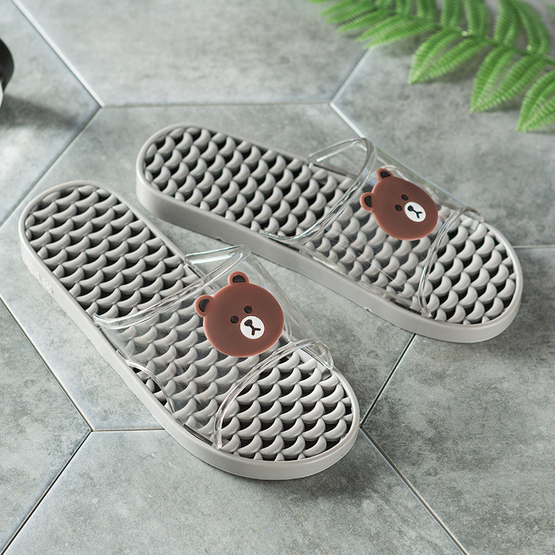 2018 beach slippers men home summer new men's slippers transparent bear pattern male anti-skid wear-resistant shoes direct sales 3