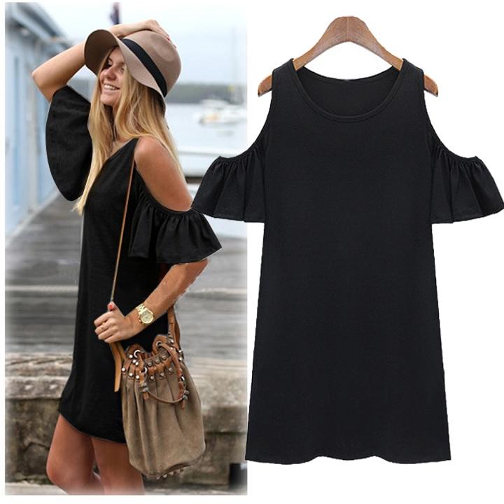 fdedf834f8482 Women Summer Dress Oversized Sexy Sleeve Strap Off Shoulder Vest Mini Dress  Gray