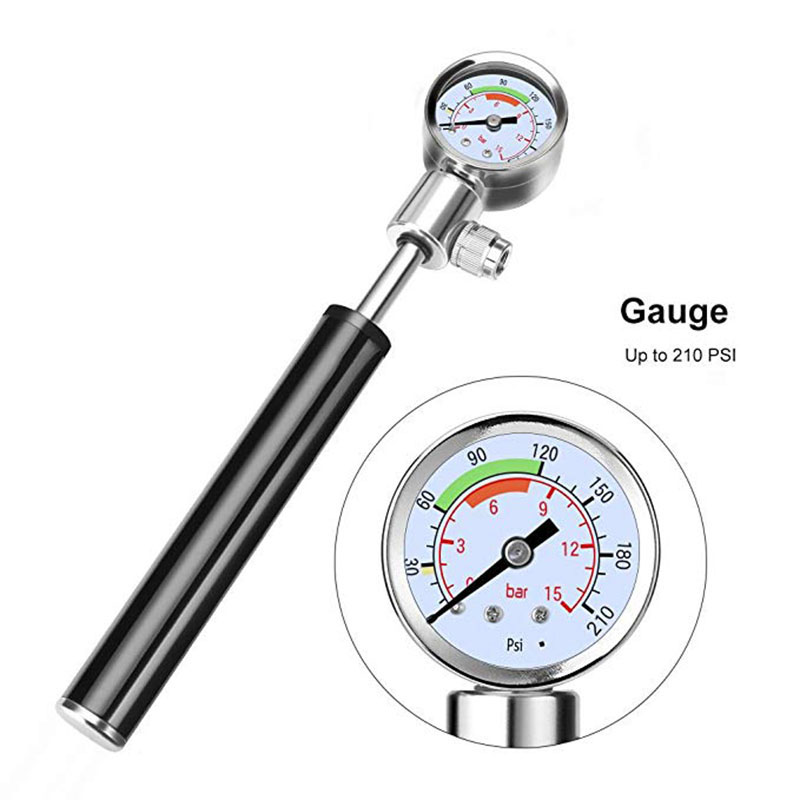 Hand Bicycle Air Pump Mini Tyre Inflator Portable Cycling Pressure Gauge Gage