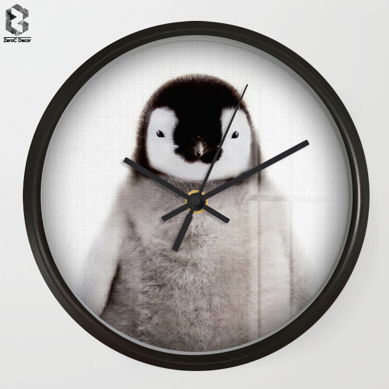 Chic Art Wall Clock Penguin For Kids Room Wall Decor, Table Decorative Mute Quartz Clock ...
