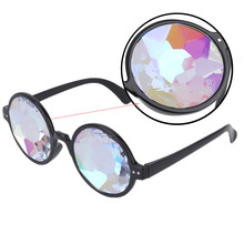 Creative Round Kaleidoscope Sunglasses Women Dazzle Eyewear Model Show Sun Glasses Men Artificial diamond Lens Steam Punk style