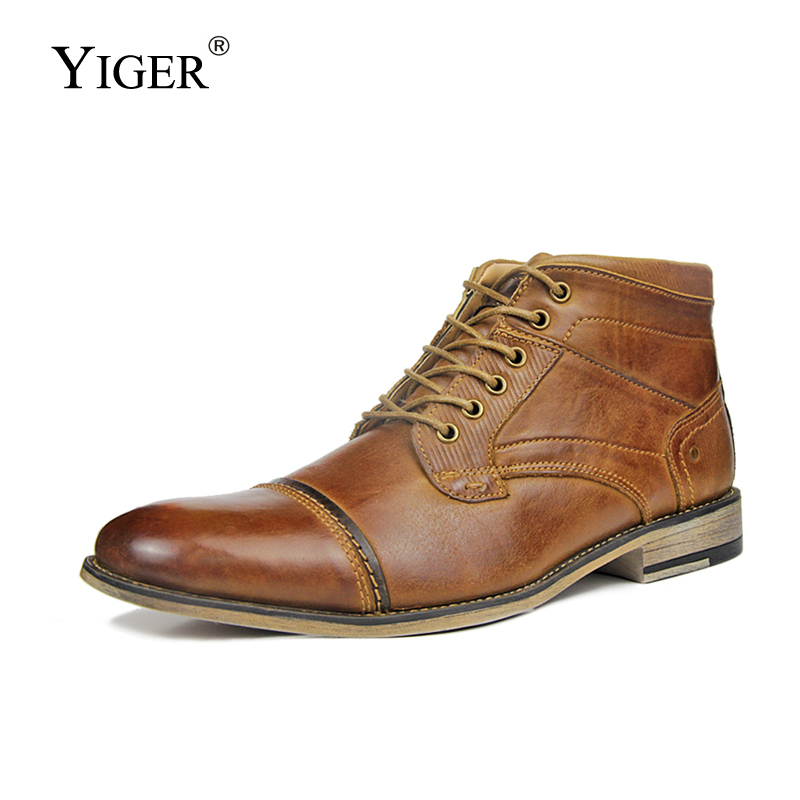 YIGER New Men Martins boots men ankle boots Genuine leather Winter warm with fur casual male