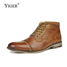YIGER New Men Martins boots men ankle Genuine leather Winter warm with fur casual male Brown Big size 40-50  0225