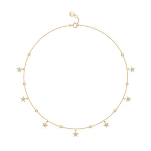 Image 1 - SLJELY Brand Design Real S925 Sterling Silver Yellow Gold Color Stars Necklace Micro Cubic Zirconia Women Fashion Party Jewelry