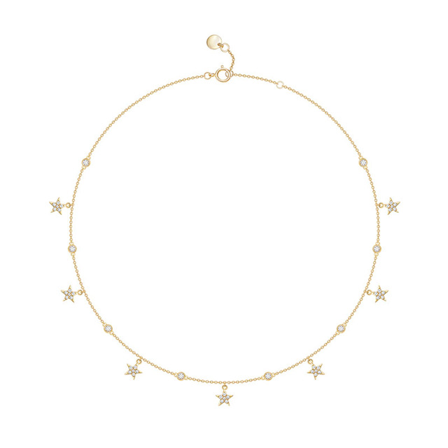 SLJELY Brand Design Real S925 Sterling Silver Yellow Gold Color Stars Necklace Micro Cubic Zirconia Women Fashion Party Jewelry