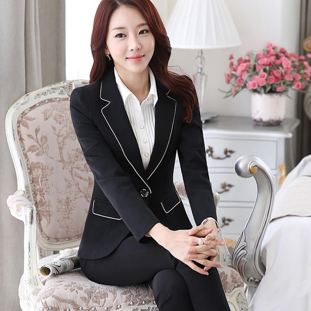 (3pc) women formal pant suits for work uniforms blazer pink business suit ladies pantsuits business professional clothing B110