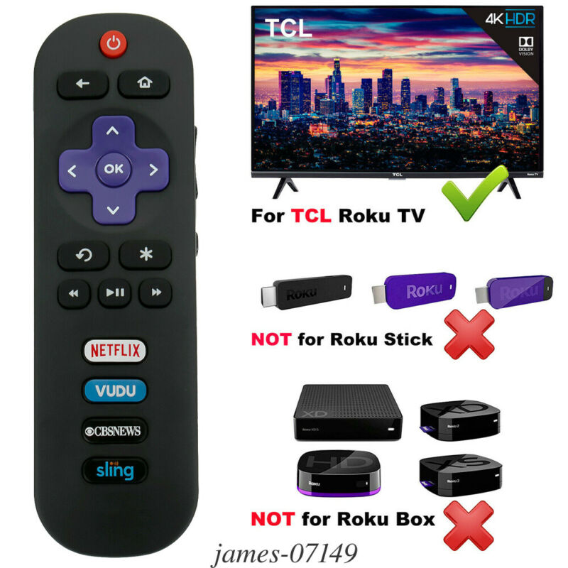 New Remote Control RC280 fits for TCL ROKU TV 65S405 43S405 with VUDU CBS Keys 3E11 image