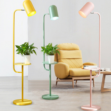 цена на Nordic Modern Iron Floor Lamp Led E27 Pure Color Living Room Restaurant Floor Lamp Bedroom Study Lighting Fixture Kitchen Lights