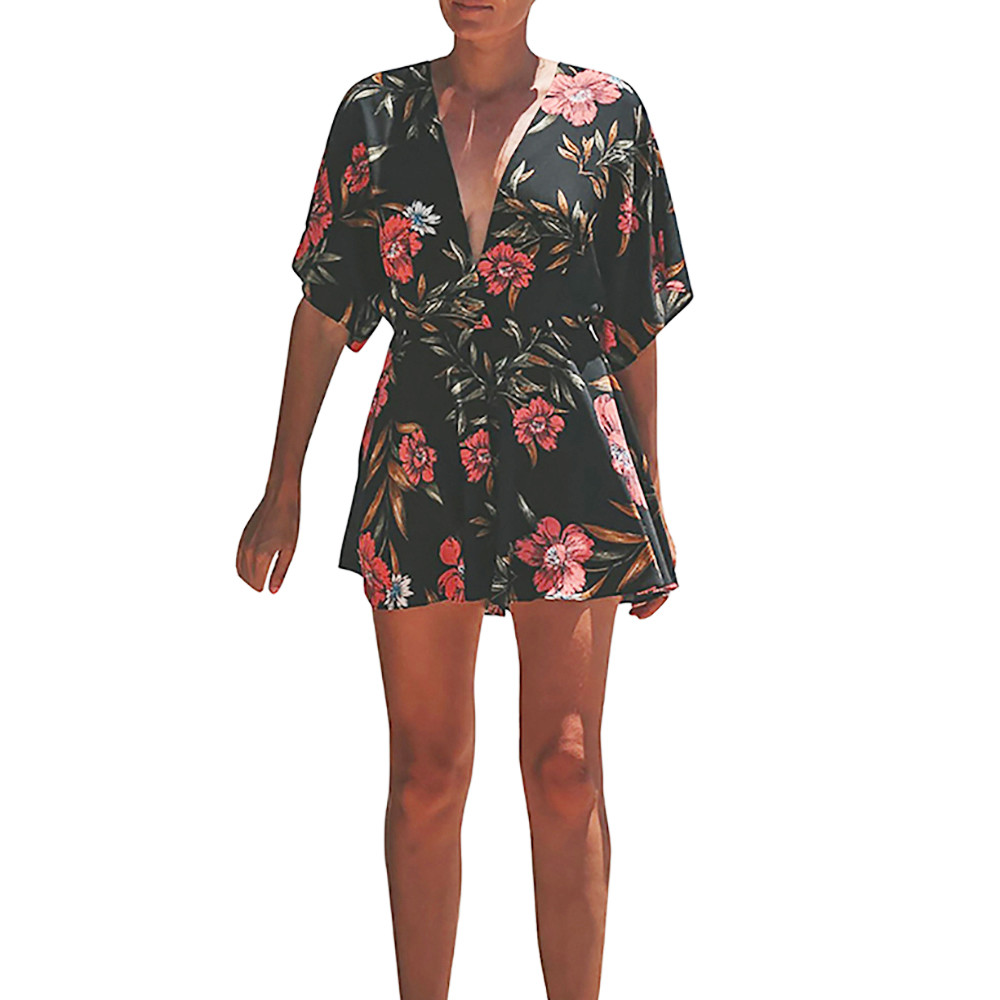 FREE OSTRICH Hot   Jumpsuits   For Women 2019 New Arrival Women Sexy Backless V-neck Rompers Floral Print Half Sleeve Mini   Jumpsuit