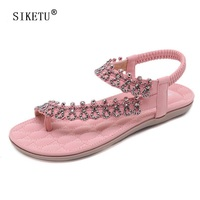 SIKETU Women Ethnic Bohemia Flat Shoes Sandals For Woman Crystal Flower Flip Flop Beach Sandals Casual