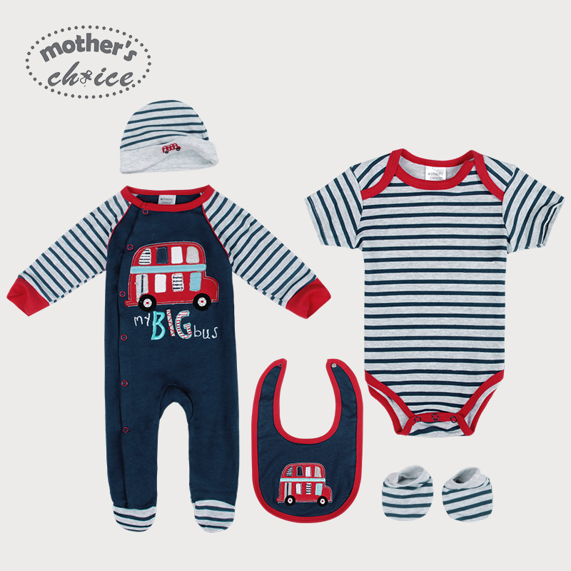 Mother's Choice Baby set clothing Rampers set, long adn short sleeve romper, Bib, Beanie, and Booties NB to 6M