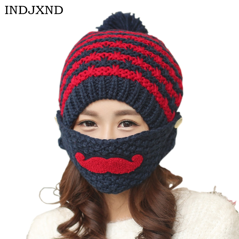 INDJXND Stylish Winter Beard Warm Woolen Hat Lovely Women Mouth Mask Hats Protect Face And Ears Knit Caps Beanies High Quality woolen yarn imitated wig knitted beard face hat for men and women