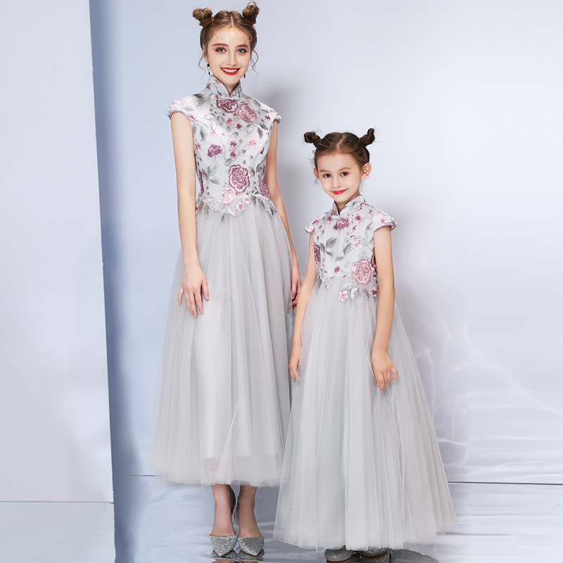Mother And Daughter Dresses Spring Summer New Elegent Stand Collar Printing Vintage Grey Long Mother And Daughter Dresses