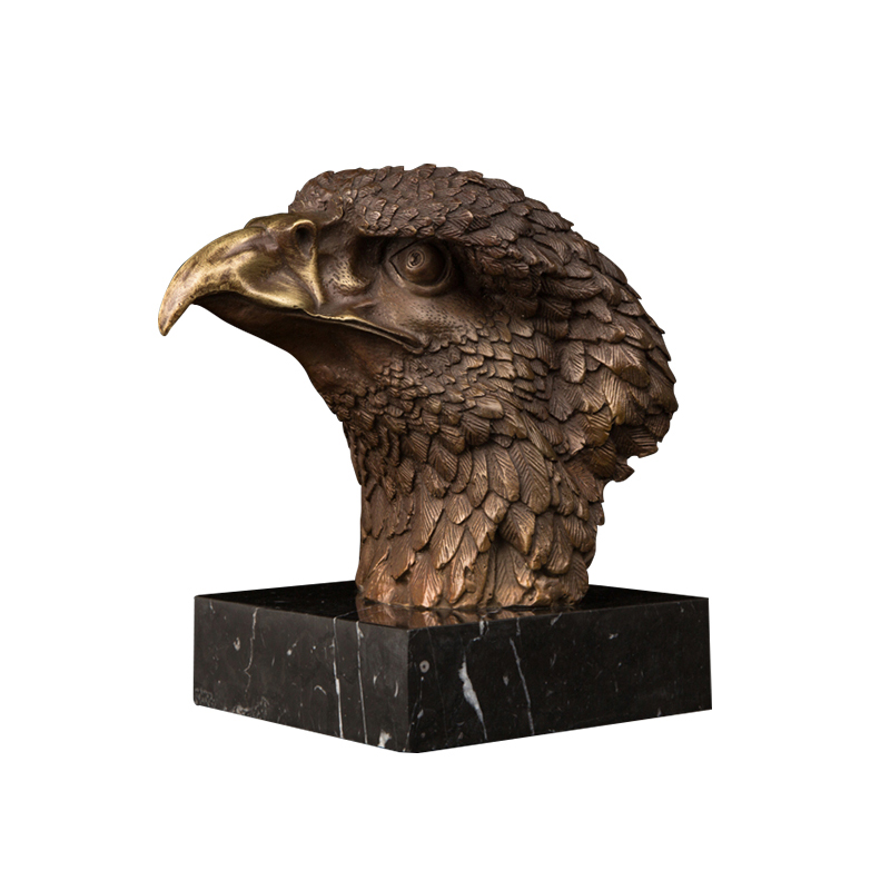 Table decor metal casting brass antique eagle head statue abstract animal bronze eagle sculpture
