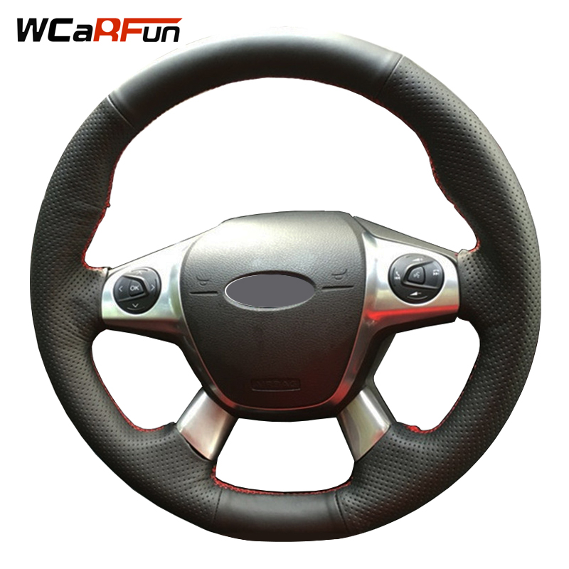 WCaRFun Hand-Stitched Black Artificial Leather Auto Car Steering Wheel Cover for Ford Focus 3 2012-2014 KUGA Escape 2013-2016