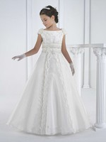 2015 İlk communion elbise kat uzunluk prenses beyaz çiçek kız elbise kız beyaz communion elbise vestidos de comunion