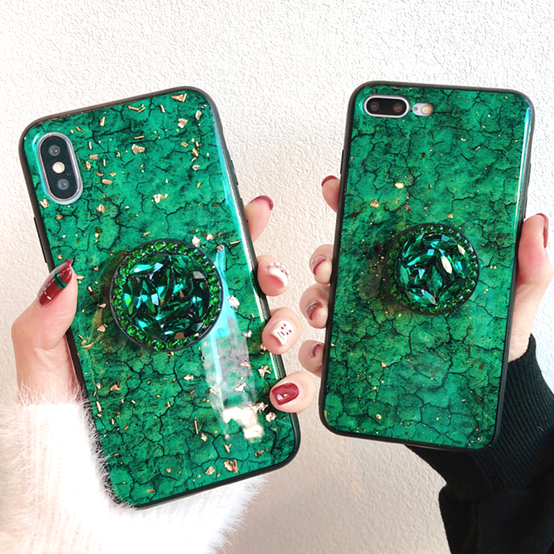 Green emerald marble pattern diamond extension bracket shiny silicone cover case for iphone MAX XS XR 6 S 7 8 plus X phone cases (5)