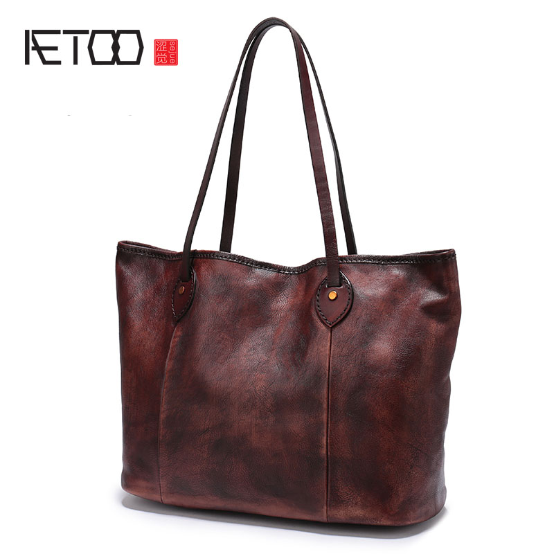 AETOO Women fashion leather handbags new simple atmosphere Tote bag soft leather shopping bag bag shoulder wave new leather women bag white fashion satchel simple atmosphere retro handbag speedy bag