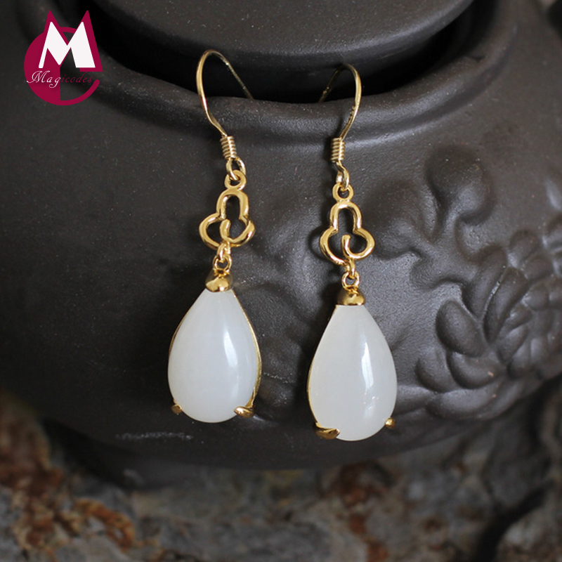 100% 925 Sterling Silver Earrings For Women Water Drop Natural Stone Charming White Jade Gemstone Drop Earring Fine Jewelry SE32 white off the shoulder lace details bodysuit