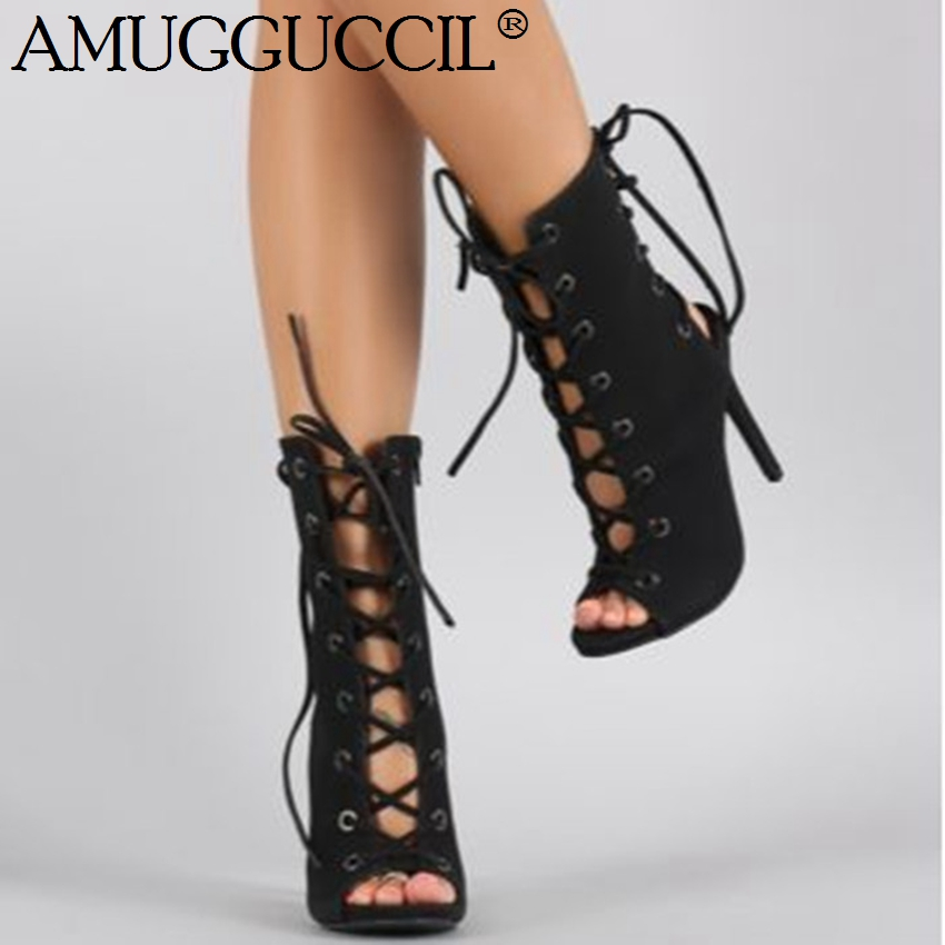 2019 New Plus Big Size 34-47 Black Lace Up Peep Toe Fashion Sexy High Heel Females Lady Sandals Women Summer Boots X18172019 New Plus Big Size 34-47 Black Lace Up Peep Toe Fashion Sexy High Heel Females Lady Sandals Women Summer Boots X1817