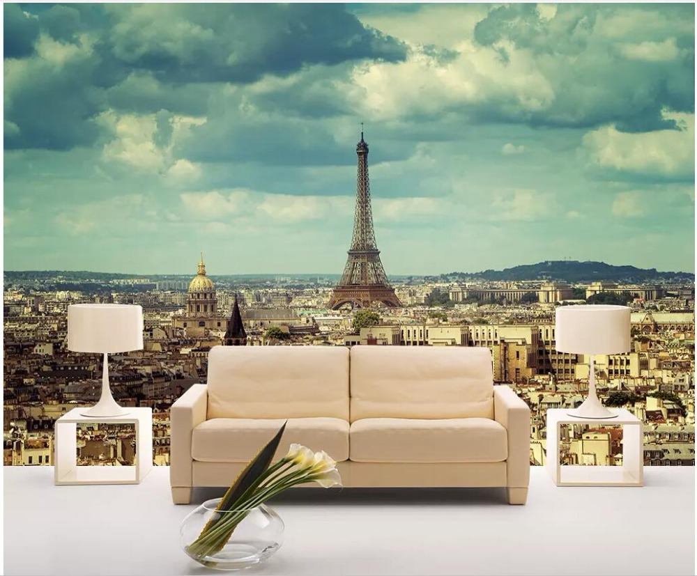 US $15 45 OFF Custom Photo Mural On The Wall 3d Wallpaper Paris View Eiffel Tower Background Home Decor Living Room Wallpaper For Walls 3